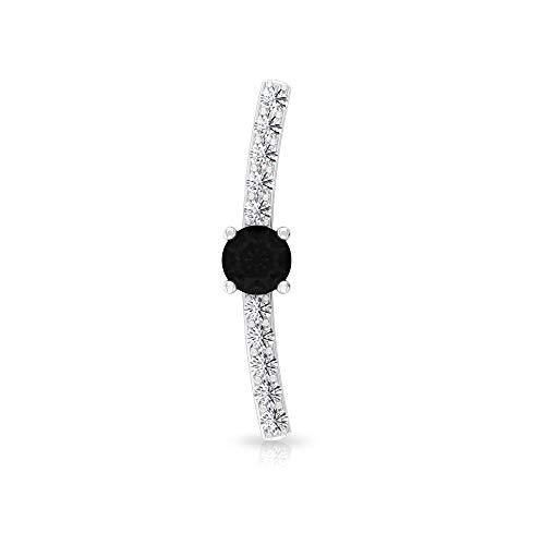 Black Diamond Solitaire Earring, SGL Certified 0.16 Ct Diamond Cartilage Earring, Curve Climber Earring, Crawler Ear Cuffs, Body Jewellery, 10K White Gold Flat Screw on Back 5mm