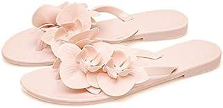 Summer Sweet Flower Slippers Flip Flops Women Sandals Female Candy Color Beach Shoes Outside Flat Slides Simple elegant slippers (Color : Apricot, Shoe Size : 7.5)