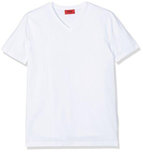 HUGO Herren T-Shirt Hugo-V, Weiß (White 100), Large (Herstellergröße: L)