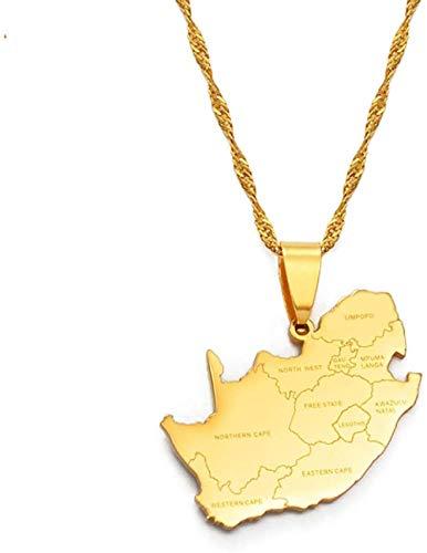 CXYCXY Co.,ltd Collar Mapa de Sudáfrica y Nombre de la Ciudad Collares Pendientes Joyería Color Dorado Mapas africanos Sudafricanos 60Cm