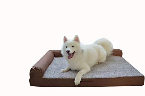 RAIKOU Weiches Hundebett, gepolstertes waschbares Haustierbett Hundesofa Hundekorb(Braun Melange,80x60x7cm)