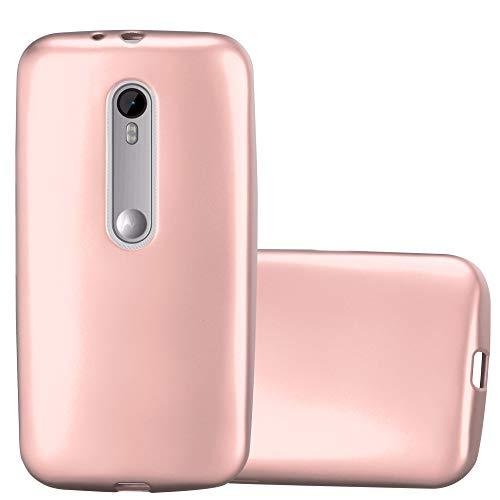 Cadorabo Funda para Motorola Moto G3 en Metallic Oro Rosa - Cubierta Proteccíon de Silicona TPU Delgada e Flexible con Antichoque - Gel Case Cover Carcasa Ligera
