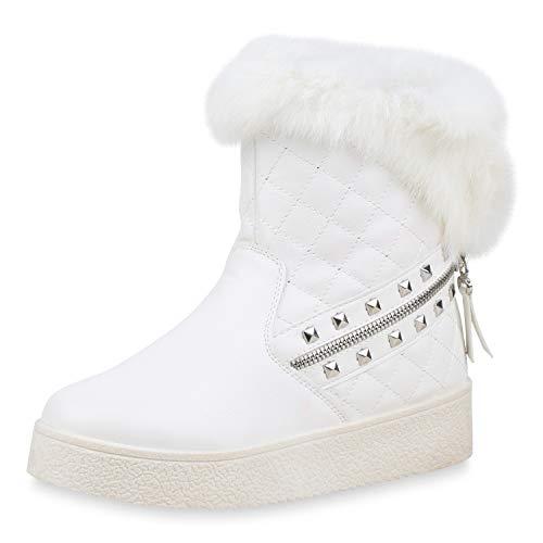 SCARPE VITA Damen Stiefeletten Winter Boots Fell Plateau Schuhe Warm Gefüttert 171686 Weiss Warm...