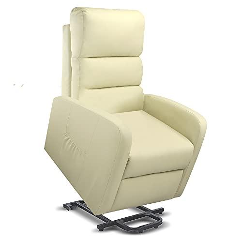 gridinlux | Sillón Relax Masaje Levanta Personas Beige | Reclinable | Elevación Automática con Mando de Control | 5 Modos | Función Calor Lumbar | 8 Motores | 4 Zonas de Masaje | Polipiel