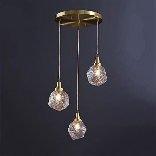 Iluminación moderna de la isla de la cocina de latón, lámpara de luz lineal de sombra de vidrio martillada transparente, accesorio de luz posmoderno de 3 luces para comedor E14 Lámparas colgantes de t
