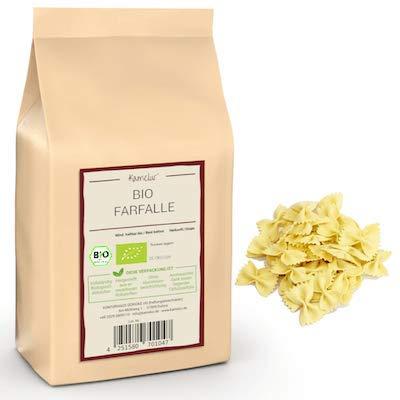 500g BIO Farfalle - Hartweizen Nudeln BIO, Pasta ohne Zusätze - Farfalle Nudeln in biologisch abbaubarer Verpackung