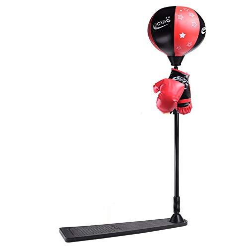 Punchingball Kinder, Standboxsack Set mit Standfuß Pumpe Boxhandschuhe, Höhenverstellbar Boxtraining Standboxball