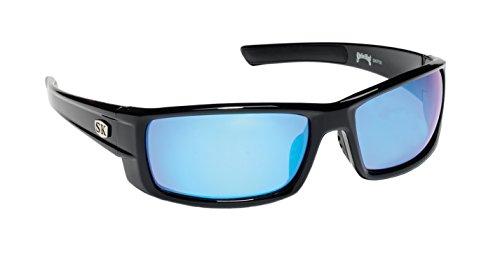 Strike King Plus Sunglasses (Black/Blue Mirror, Wide Ear Pieces, Adult)