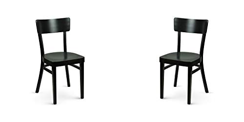 Dublino 2er Set | 2 Stück Holzstuhl Harris | Klassischer Kaffeehausstuhl | Restaurantstuhl | Farbe: Wenge (Dunkelbraun)