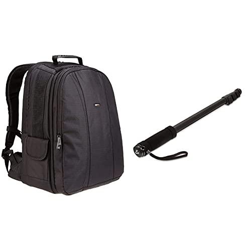 Amazon Basics Rucksack für DSLR-Kamera und Laptop (oranges Interieur) & 67-Inch Monopod