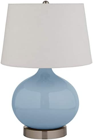 Amazon Brand – Stone & Beam Round Ceramic Table Lamp With Light Bulb and White Shade - 11 x 11 x 20 Inches, Cyan Blue