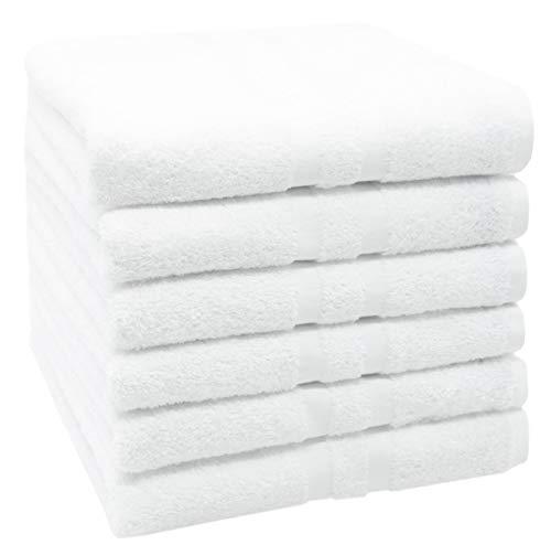 ZOLLNER 6 Toallas de Lavabo Blancas Grandes, Rizo de algodón 100%, 50x100 cm
