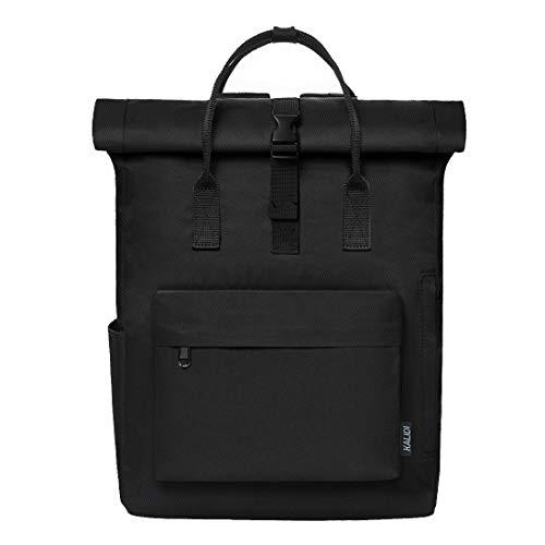 KALIDI Backpack Roll top Rucksack Women & Men Casual Daypack Unisex Water-Resistant Travel School Bag fits 15 inch Laptop,Black