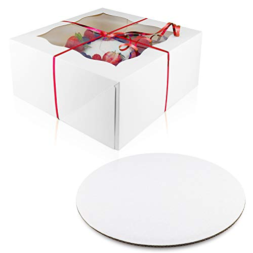 [10 Pack of Each] Cake Boxes Cake Boards Set – 10 Sturdy Cake Boxes 10 x 10 x 5 & 10 Inch Cake Boards - Window Cardboard Cake Boxes - Ten Round Cake Boards in Set (10x10x5)