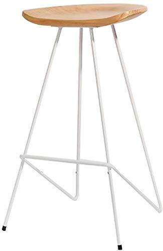 Dongy legno sgabelli poggiapiedi sedie da pranzo per cucina/pub/bar moderno semplicità bar sgabello alto pino sedile gambe metallo (colore : bianco, dimensioni: 65cm)