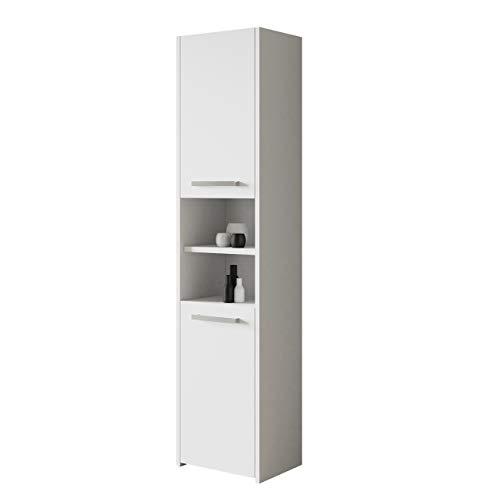 Badezimmerschrank Libra S40, Seitenschrank Hochschrank Farbauswahl Schrank Midi-Schrank Badmöbel (Weiß)