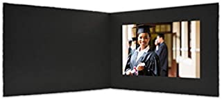 Golden State Art, Acid-Free Photo Folders for 5x7 Picture Horizonta,Pack of 25 Black Cardboard/Paper Frames,Great for Portraits and Photos,Special Events: Graduation,Wedding,Baby Showers