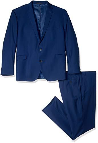 MAGE MALE Men's Plaid Suit Slim Fit 3-Piece Leisure Suit One Button Blazer Dress Business Wedding Party Jacket Vest & Pants Blue