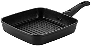 Cooker King 10 inch Induction Nonstick Grill Pan,Square Grill Pan,100% APEO & PFOA Free Coating From America, Removable Detachable Handle Dishwasher Safe, Oven Safe, Black