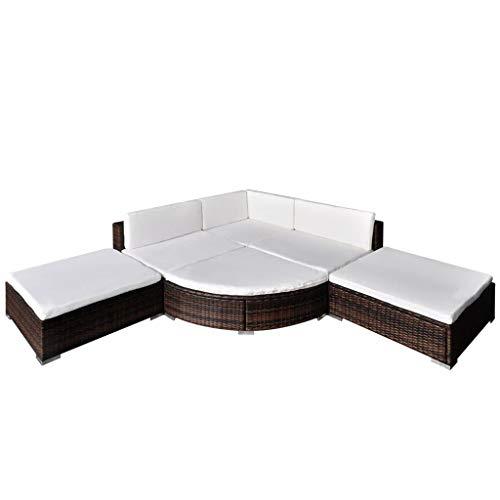 Festnight 6-delige Loungeset met kussens poly rattan Indoor Outdoor Patio Couch Lounge Tuinmeubelset Sofa bruin