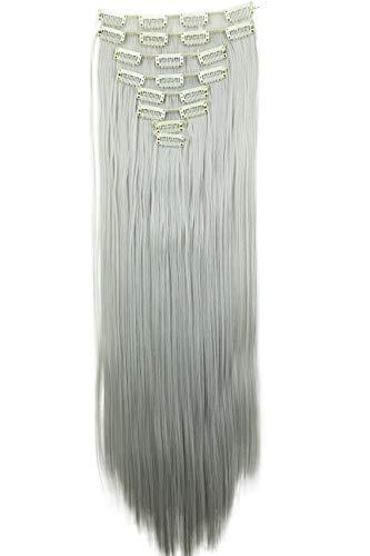 PRETTYSHOP XXL 60cm 8 Teile Set CLIP IN EXTENSIONS Haarverlängerung Haarteil Glatt Hellgrau CES28