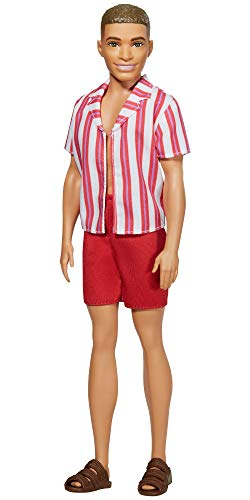 Barbie ​Ken 60th Anniversary Doll in Throwback Beach Look with Swimsuit & Sandals for Kids 3 to 8 Years Old