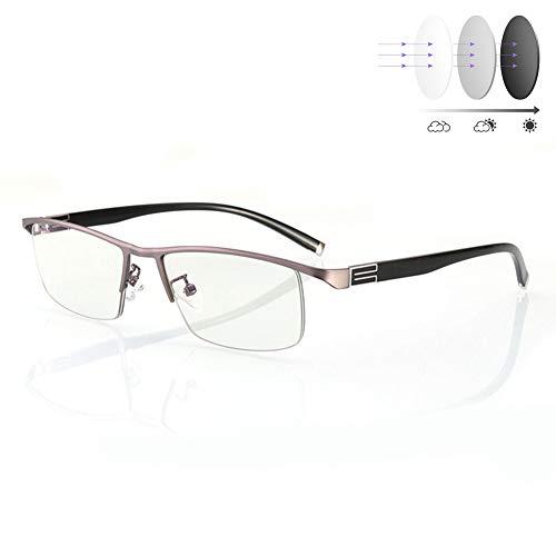 PLMOKN Anteojos de Lectura de decoloración UV400 Negro, Gafas de Sol HD Anti Fatiga Cerca/lejos de Doble propósito Progresivo Gafas de presbicia multifocales para Pesca Deportiva(+300)