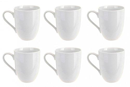 Kaffeebecher Kaffeetasse Porzellan Weiß mit Henkel 6 Stück Set Modell-Auswahl, Modell:300 ml bauchige Form