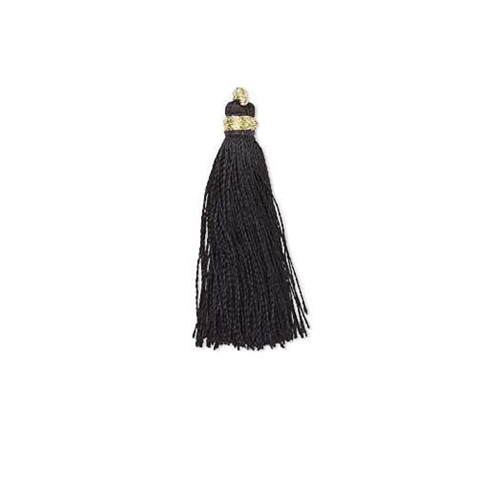 6 Little Tassel Charms, Imitation Silk 2 Inches Long with Gold Loop for Hanging (Black)
