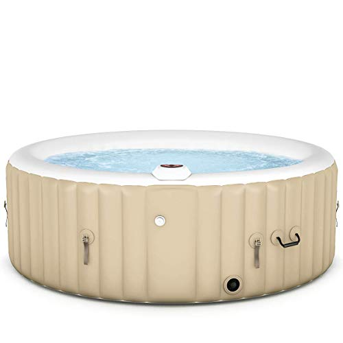 Goplus 4-6 Person Outdoor Spa Inflatable Hot Tub for Portable Jets Bubble Massage Relaxing with Accessories Set (4-Person, White)