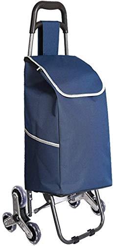 Haushaltsgeräte Tragbarer dreirädriger Klapp-Einkaufswagen Leichter Treppensteigwagen mit abnehmbarer wasserdichter Tasche für Wäsche Lebensmittel und Markt - Treppen rauf und runter (Farbe: Hellbl