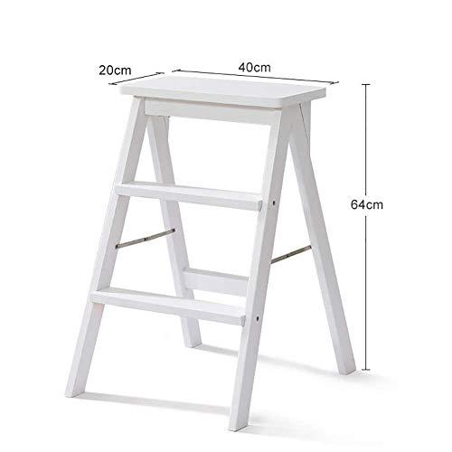 Silla plegable multifunci/ón para el hogar de madera maciza Taburete con escalera de 4 escalones Escalera de escalada port/átil para interiores Herramientas de jard/ín Carga m/áxima 150 kg Color: blanco