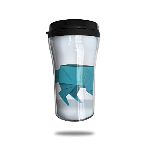 Taza de viaje de acero inoxidable aislada al vacío, taza de café, taza de viaje,Origami de zorro