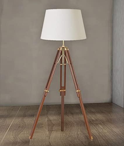 Soporte de trípode de madera vintage diseño náutico lámpara de pie decoración del hogar uso sin sombra