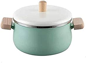 WZHZJ Enamel Wood Handle Milk Pot Soup Saucepan Thickened Noodle General Home Induction Cooker Stew Manual Pan (Color : Gr...