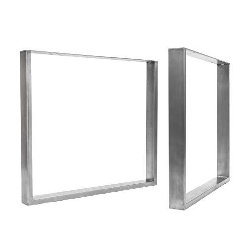 [HLC] 2 x patas industriales de mesa cuadradas: acero acondicionado de superficie, soldadura TIG con tornillos GRATUITOS, guía de construcción y protectores de suelo [Mesa Grande, Abrigo limpio]