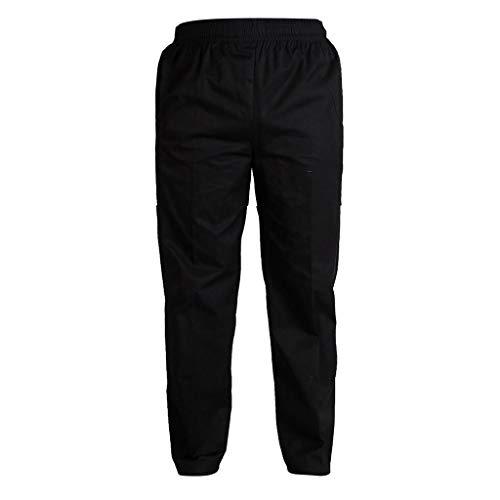 KESOTO Pantalons de Cuisine Pantalons Élastique de Travail d'Hôtel avec Poches Pantalons de Chef Unisexe Style Bouffant - Noir, XL