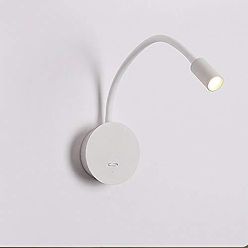 Lámpara de pared Lámpara de lectura de cabecera, luz de libro LED de lecho de cama regulable para leer en la cama, sin taladrar sin daños a la pared, minimalista Fotlight Fotlight Light con cargador U