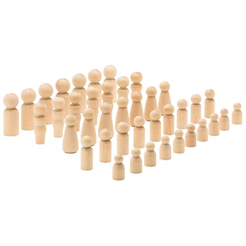 Toy Peg Doll Set, Pack of 40 (dad, mom, Angel, Baby, boy) - 8 of Each