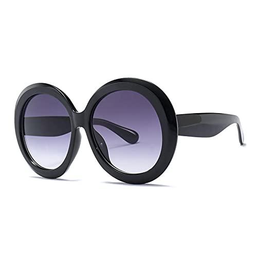 Astemdhj Gafas de Sol Sunglasses Nuevas Gafas De Sol Redondas De Moda para Mujer, Diseñador Vintage, Negro, Verde, De Gran Tamaño, con Marco De Espejo, Sombras para Mujer, Uv400 3Anti-UV