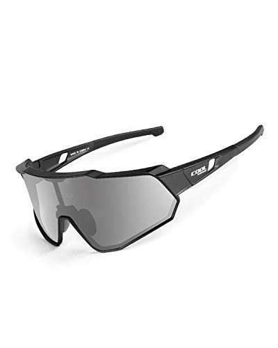 Cool Change Polarized Cycling Sunglasses Full Screen TR90 Unbreakable Lightweight Sports Glasses for Men Women - Sliver