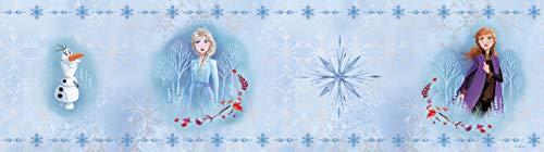 AG Design Olaf mit Elsa und Anna Cenefa Decorativa para habitación Infantil 14 cm, diseño de Frozen 2, Azul, 5 m x 0,10m