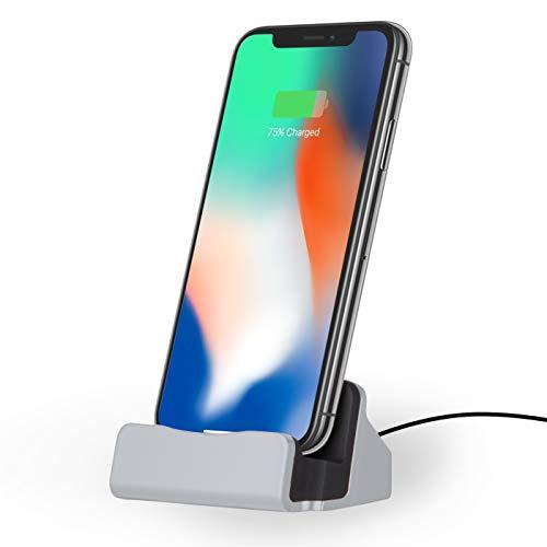 NessKa® Dockingstation [ inkl. 2 Meter USB Kabel ] Desktop Tisch Ladestation Ladegerät Dock Ständer für Apple iPhone X XR XS Max Pro 11 10 8 7 6s 6 Plus 5s 5 SE iPod Touch | Silber