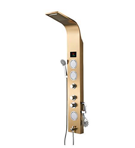 LED-Licht Duschpaneel Turm System Wasserhahn Wasserfall Regen Duschkopf SPA Massagedüsen Duschsäule Digitale Wassertemperaturanzeige, Duschpaneel Gebürstet,Gold