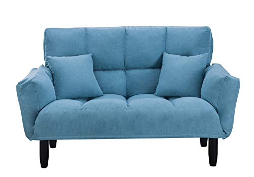 "Loveseat Sleeper 55"" Modern Couch Small Futon Tufted Sofa with Solid Wood Legs Adjustable Armrests to Create a Couch Sleeper (Blue)"
