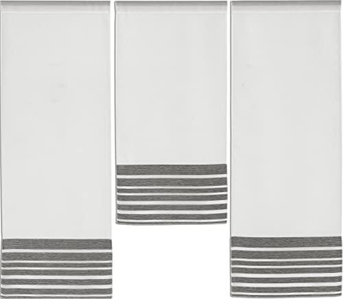 3er I 4er Mini Flächenvorhang Set Anthrazit 4027 I 3 Teile I Scheibengardine Gesamtbreite 90 cm (3x30cm) I Höhe 80/60/80cm