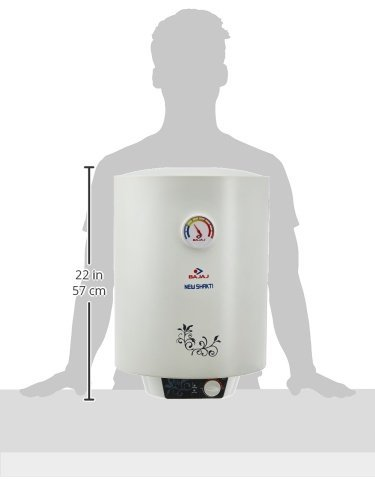 Bajaj New Shakti Storage 15 Litre Vertical Water Heater, White, 4 Star