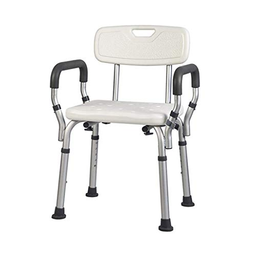 ZXY-NAN Bathroom Wheelchairs Bath Stools Bathroom Stools Shower Stool Bath Chair Bathroom Seat Non-slip Adjustable Height with Armrests Lightweight Aluminum with backrest Elderly Disabled Pregnant Bea