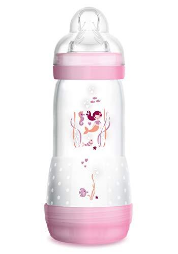 MAM Easy Start Anti-Colic Babyflasche (320 ml), Milchflasche für die Kombination mit dem Stillen, Baby Trinkflasche mit Bodenventil gegen Koliken und Sauger Größe 2, 4+ Monate, Seepferdchen