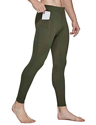 FitsT4 Men's Active Yoga Leggings Pants Dance Running Tights with Pockets Cycling Workout Compession Pants Army Green